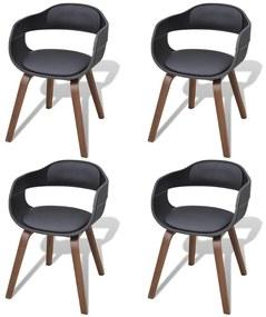 271945 vidaXL Scaune de bucătărie 4 buc, negru, lemn curbat & piele ecologică
