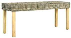 285791 vidaXL Bancă, natural, 110 cm, ratan kubu & lemn masiv de mango