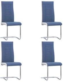 281750 vidaXL Scaune de bucătărie consolă, 4 buc., albastru, textil