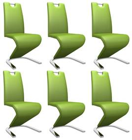 279457 vidaXL Scaune de bucătărie în zigzag, 6 buc., verde, piele ecologică