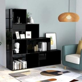 800664 vidaXL Bibliotecă/Separator cameră negru extralucios 155x24x160cm PAL