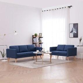 276853 vidaXL Set de canapele, 2 piese, albastru, material textil