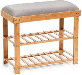 Suport pentru incaltaminte cu sezut tapitat, Bamboo Gri, l60xA29xH50 cm
