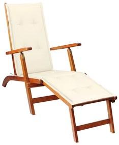 3064016 vidaXL Șezlong de exterior, suport picioare și pernă, lemn de acacia