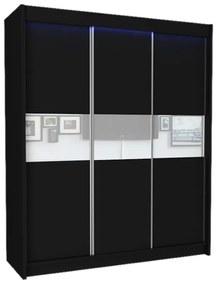 Expedo Dulap cu uși glisante ALEXA + Amortizor, negru/sticlă albă, 180x216x61