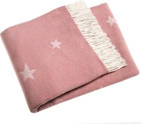 Pled din amestec de bumbac Euromat Stars 140 x 160 cm, roz