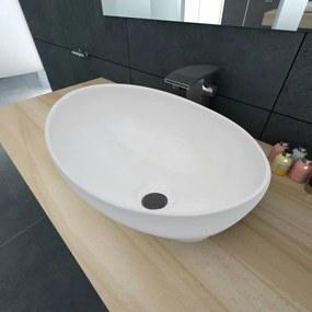 140674 vidaXL Chiuvetă ovală, alb, 40 x 33 cm, ceramică premium