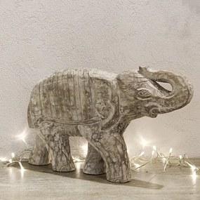 Statueta Elephant din lemn maro 50x8x32 cm