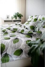 Lenjerie de pat din bumbac Cotton House Green Leaf, 140 x 200 cm, alb-verde
