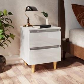 805863 vidaXL Noptieră & picioare lemn masiv pin alb extralucios 40x35x50 cm