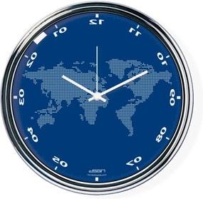 Ceas invers cu o hartă mondială - albastru, diametru 32 cm | DSGN
