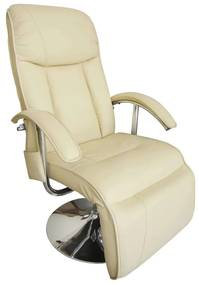 240065 vidaXL Fotoliu de masaj, alb crem, piele ecologică