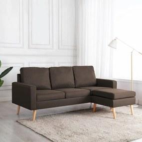 288725 vidaXL Canapea cu 3 locuri și taburet, maro, material textil