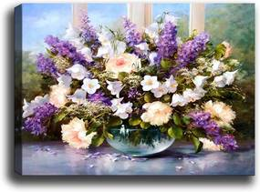 Tablou Tablo Center Purple Flowers, 70 x 50 cm