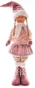 Decoratiune Craciun, fetita, roz, 75 cm