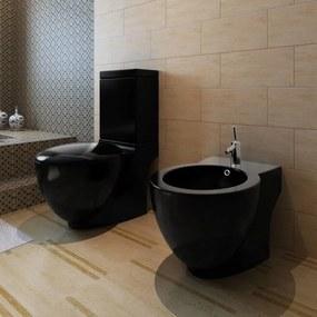 Set vas de toaletă și bideu din ceramică, negru