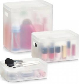 Set 3 cutii cu capac transparente din plastic pentru cosmetice Stackable Box Big Zeller