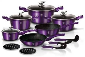 Set oale si tigai marmorate (15 piese) din aluminiu forjat Metallic Line Royal Purple Edition Berlinger Haus BH 1662N