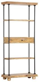 286270 vidaXL Bibliotecă cu 5 rafturi 80x35x180 cm, lemn masiv mango și oțel