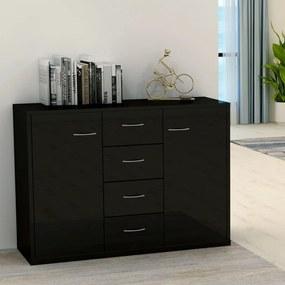 800691 vidaXL Servantă, negru extralucios, 88 x 30 x 65 cm, PAL