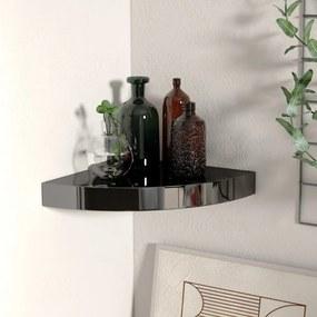 323889 vidaXL Raft colțar de perete, negru extralucios, 25 x 25 x 3,8 cm, MDF