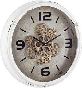 Ceas perete metal alb negru auriu vintage Engrenage 46.5 cm x 11 cm