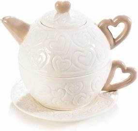 Set ceainic cu ceasca din portelan alb crem 14 cm x 12 cm x 12 h