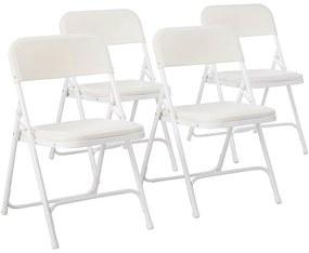 4 buc scaune pliabile si captusite in culoarea alba