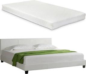Corium® Pat frantuzesc elegant, tapitat (alb)140 x 200 cm - cu saltea spuma rece