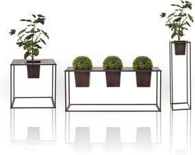 [casa.pro]® Set 3 suporturi flori, pentru exterior, marimi diferite,cu ghivece, metal, maro inchis