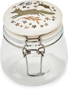 Borcan din sticlă cu capac din ceramică Cooksmart Woodland, 500 ml