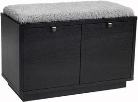 Bancă cu spațiu pentru depozitare și șezut gri Rowico Confetti, lățime 70 cm, negru