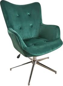 Scaun lounge verde din catifea si metal Swivel Invicta Interior