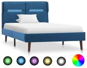 286896 vidaXL Cadru de pat cu LED, albastru, 100 x 200 cm, material textil
