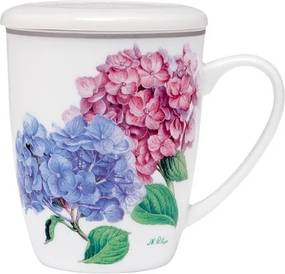 Cană din porțelan cu infuzor pentru ceai și capac Ashdene Pastel Hydrangeas, 350 ml