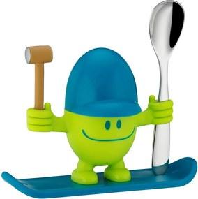 Suport pentru ou cu lingură WMF Cromargan® Mc Egg, albastru - verde
