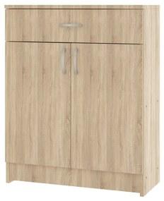 Comoda 1 Sertar + 2 Usi, Sonoma, 80 x 35 x 100 cm