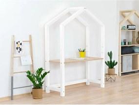 Birou din lemn în formă de casă Benlemi Stolly, 97 x 39 x 133 cm, alb