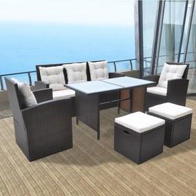 42644 vidaXL Set mobilier de exterior cu perne, 6 piese, maro, poliratan