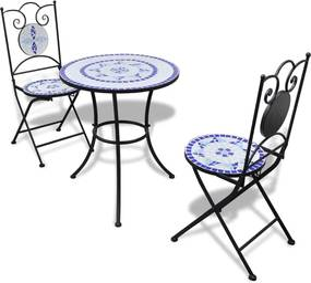 271771 vidaXL Set mobilier bistro, 3 piese, albastru/alb, plăci ceramice