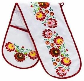 Mănușă dublă bucătărie Domarex Folk, roșu, 18 x 76 cm