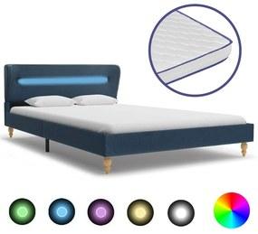 277689 vidaXL Pat cu LED și saltea spumă memorie albastru 120 x 200 cm textil