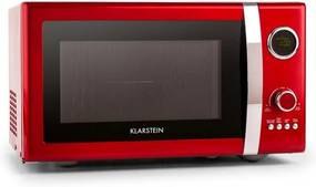 Klarstein Fine Dinesty, 1000 W, 23 L, cuptor cu microunde 2 în 1, retro, 12 programe, roșu