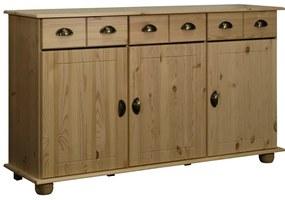 325538 vidaXL Servantă, 134x39x79,5 cm, lemn masiv de pin