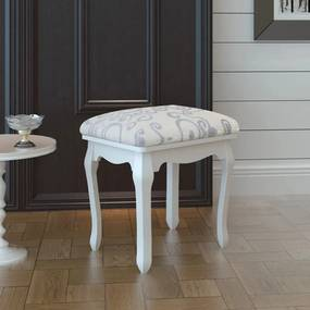 240316 vidaXL Taburet pentru dressing, alb crem, material textil