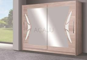 Dulap haine usi glisante DOME DO 08 stejar sonoma/crem cu oglinzi, 215x200x60 cm