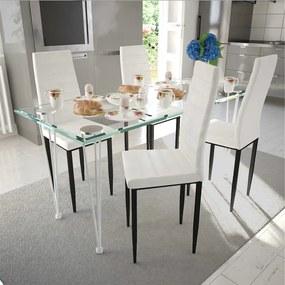 241499 vidaXL Scaune de bucătărie 4 buc., design suplu, alb