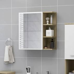 803313 vidaXL Dulap baie cu oglindă, alb/stejar Sonoma, 62,5x20,5x64 cm PAL