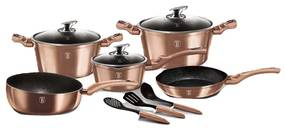 Set oale marmorate 11 piese Rose Gold Berlinger Haus BH 6160