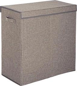 Cos rufe 2 compartimente pliabil cu capac textil gri Laundry 60 cm x 30 cm x 60 h